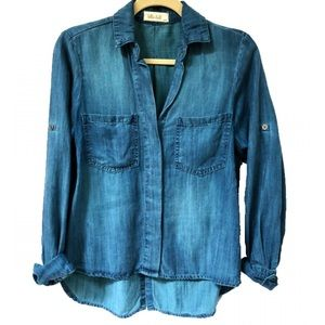Bella Dahl Chambray Blue Split Back Shirt